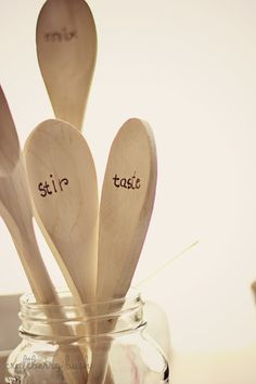 Craftberry Bush: Our weekend and some wood burned spoons-I like this idea, but I'd burn the words on a different spot
