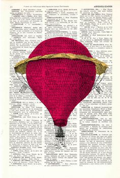 Dictionary art Fantastic Hot air balloon antique by PRRINT