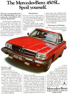 1974 Mercedes 450SL - Spoil yourself - vintage ad