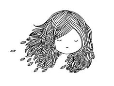 Little Girl Illustrations, Ink Illustrations, Cartoon Drawings, Easy Drawings, Feather Drawing, Art Mignon, Kawaii Doodles, Art Et Illustration, Inspiration Art