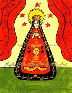 """Saint Postcards, Our Lady of Solitude, """"Consolation in Time of Loss,"""" New Mexico Santo, Icon, Christian, Folk Art, Primitive"""