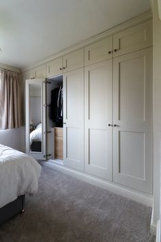 Bedroom wardrobe - Fitted shaker wardrobes with mirrored doors and oak internal drawers Spray finished in farrow and ball 'matchstick' Burton on Trent Bedroom Built In Wardrobe, Bedroom Built Ins, Fitted Bedroom Furniture, Fitted Bedrooms, Diy Wardrobe, Bedroom Closet Design, Closet Designs, Home Bedroom, Girl Bedrooms
