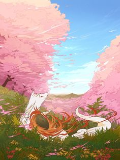 okami laying in the grass looking at the cherry blossoms.I wish i could do that