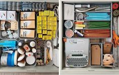 The junk drawer in my kitchen doesn't look like this. It'll come as no surprise that the drawers above are from Martha Stewart. Her secret: Modular units instead of all-in-one drawer organizers. Kitchen Junk Drawer Organizer, Junk Drawer Organizing, Organizing Life, Organizing Ideas, Konmari, Kitchen Organization, Storage Organization, Smart Storage, Diy Storage