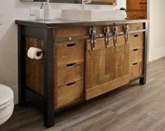 """Rustic Vanity (72"""") - Dual Sink, Reclaimed Barn Wood w ..."""