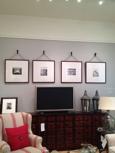 wall of frames around tv - Google Search More