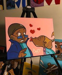 Proud family artwork Cute Canvas Paintings, Small Canvas Art, Mini Canvas Art, Cartoon Painting, Painting & Drawing, Arte Black, Trill Art, Black Art Pictures, Dope Art