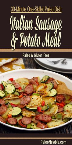 Easy and awesome! All-in-one hot skillet meal with sausage, white sweet potato, zucchini and other veggies. Includes special Italian seasoning mix.