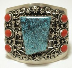 Old Pawn Navajo Spider Web #8 Turquoise & Coral Sterling Silver Cuff Bracelet - Loranzo James