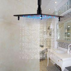 "57.60$  Watch here - http://ali7xl.worldwells.pw/go.php?t=32392574894 - ""LED Light 12"""" Top Spray Bathroom Rainfall Shower Head Oil Rubbed Bronze"""