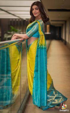 Beautiful Indian Actress Kajal Aggarwal In Yellow Saree Sari Blouse, Pattu Saree Blouse Designs, Saree Dress, Sari Design, Bridal Silk Saree, Saree Wedding, Marathi Wedding, Silk Saree Kanchipuram, Silk Sarees