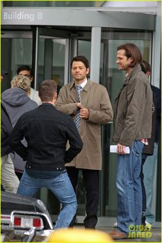 Jared Padalecki, Jensen Ackles and Misha Collins while shooting scenes. (March 11) in Vancouver.