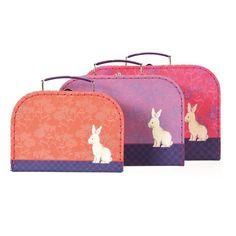 Egmont Stacking Suitcases Set Of 3, Flower Rabbit - Kids Imaginative Play