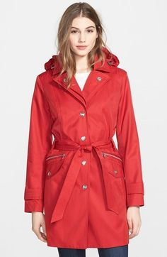 $129, Red Trenchcoat: London Fog Double Collar Trench Coat With Detachable Hood. Sold by Nordstrom. Click for more info: http://lookastic.com/women/shop_items/188331/redirect