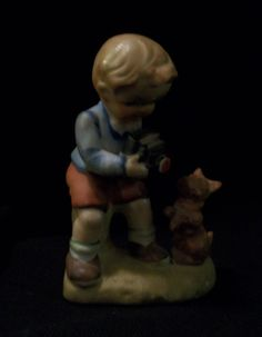 SOLD-VINTAGE WALES Figurine. Sweet Boy Taking Picture of His Dog. Excellent Pre-Owned Condition! $19.95 obo (Free S&H)