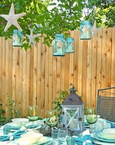 Summer time outdoor entertaining with a coastal beach theme.