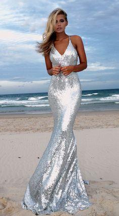 Silver angel backless prom/ formal dress by studio minc. Pretty Dresses, Sexy Dresses, Beautiful Dresses, Prom Dresses, Formal Dresses, Long Mermaid Dress, Mermaid Dresses, Bridal Dresses, Formal Prom