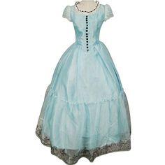 Amazon.com : Tim Burton Alice In Wonderland Cosplay Blue Dress Costume... ($90) ❤ liked on Polyvore featuring costumes, role play costumes, burton, alice in wonderland halloween costumes, cosplay costumes and prom halloween costumes