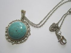 turquise necklace old silver retro