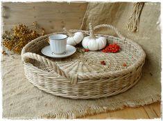 """Купить Поднос плетеный """"Тоскана"""" - поднос круглый, плетеный поднос, эко-стиль, кантри стиль"""