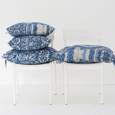 Cushions in Delft Blue, printed on pure linen. From Babylonstoren, South Africa. Delft, South Africa, Pillow Cases, Cushions, Pure Products, Printed, Table, Pattern, Inspiration