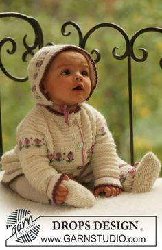 """Pyöreäkaarrokkeinen DROPS jakku, hilkka ja sukat koristereunuksilla """"Alpaca""""-langasta. ~ DROPS Design"""