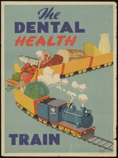 The dental health train. Issued by the New Zealand Department of Health, c 1950s