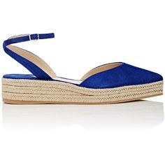 Paul Andrew Women's Rhea Suede Ankle-Strap Espadrilles ($199) ❤ liked on Polyvore featuring shoes, sandals, blue platform sandals, blue sandals, platform shoes, crisscross sandals and mid heel sandals