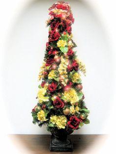 Christmas Tree Red Cream Silk Floral Prelit Table Top Christmas Tree ...