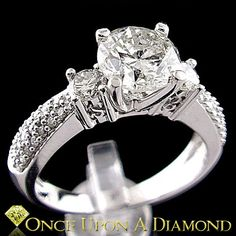 3 Stone Round Diamond Engagement Ring 14K