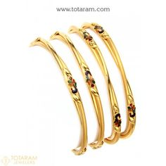 22 Karat 'Peacock' Gold Bangles - Set of 4 Pair) Indian Gold Jewellery Design, Gold Bangles Design, Jewelry Design, Gold Bangles For Women, Silver Bracelets, Bangle Bracelets, Wholesale Gold Jewelry, Rose Gold Jewelry, Bangle Set
