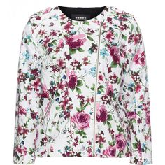 Carmakoma White / Versicolour Plus Size Lined floral print jacket ($105) ❤ liked on Polyvore featuring plus size, white y carmakoma