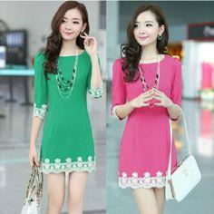 On Sale New In 2014 Spring Vestidos Summer Women Casual Dresses Elegant Lace Dresses Plus Size Knee-Length Pencil Dress