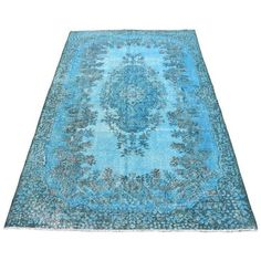 "Vintage Turkish Blue Overdyed Floral Oushak Rug - 5'8"" X 9'4"" (£450) ❤ liked on Polyvore featuring home, rugs, hand knotted rugs, flowered rugs, blue floral rug, blue floral area rug and floral area rugs"