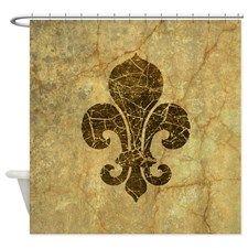fleur-de-lis-cracked_b.jpg Shower Curtain