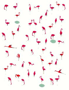 Kids wall art. Flamingos. Unique art print by illustrator Amyisla. Wall art for kids.. $35.00, via Etsy.