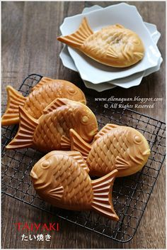 Taiyaki (たい焼き) is a Japanese fish shaped pancake which is commonly filled with red bean paste that is made from sweetened azuki beans. But in these day, there are many other fillings such as custard, chocolate, cream cheese or even sausage in it.