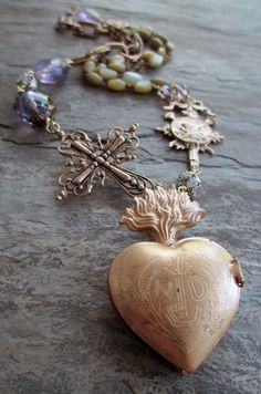 GOLDEN FLAME  assemblage necklace with ex-voto sacred heart locket by The French Circus, $160.00