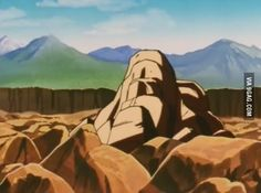 Watching DBZ (Vegeta vs 18), try to guess in which rock will Vegeta fall