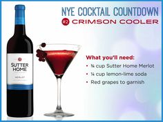 Cherish the moments before the New Year's Eve and sip on a Crimson Cooler!  Combine ingredients in a cocktail shaker with ice. Shake and strain into a martini glass. Garnish with a few red grapes.