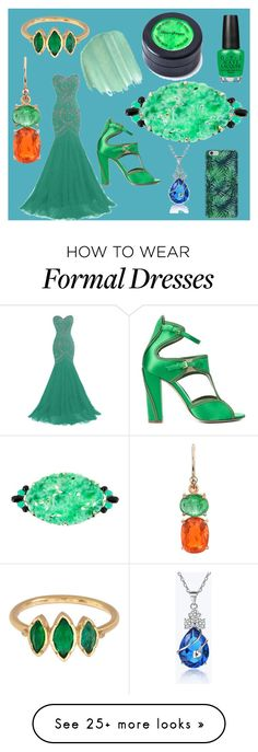 """""""OC Outfit Challenge - Formal Gala Garb"""" by winds-daughter on Polyvore featuring Monique Lhuillier, BROOKE GREGSON, Irene Neuwirth, Obsessive Compulsive Cosmetics, OPI and Stargazer"""