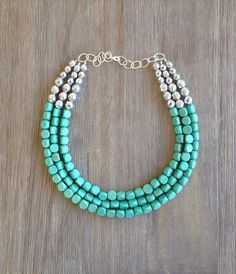 Mint and Sparkly Silver Statement Necklace by icravejewels on Etsy