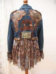 Steampunk inspired jacket, Denim reworked jacket,Upcycled jacket,, Wearable Art…