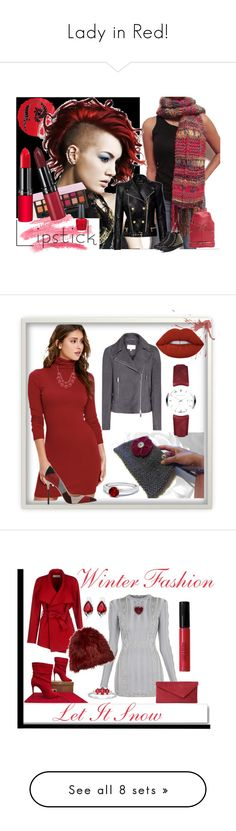 """""""Lady in Red!"""" by nadiasknits ❤ liked on Polyvore featuring NARS Cosmetics, Anastasia Beverly Hills, Rimmel, Wild Hearts, Givenchy, OPI, Balmain, Converse, Burberry and LULUS"""