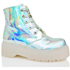Y.R.U. Hologram Slayr Boots (£110) ❤ liked on Polyvore featuring shoes, boots, combat booties, combat boots, print boots, hologram boots and round toe combat boots