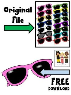 Free sunglasses clip art. Color image saved at a high resolution with no white background.Sampled from SUNGLASSES CLIP ART. The original file is available for $3.00.****************************************Molly Tillyer CLIP ARTTerms of UseARTClip art cannot be altered, resold, shared, or used to create new clip art.Cannot be used for graphic-centric products.