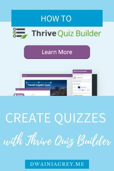 Quickly and easily create quizzes for your WordPress website with Thrive Quiz Builder to build engagement and grow your list. #thrivethemes #thrivesuite #thriveleads #emailmarketing #listbuilding #onlinequiz #quizzes #wordpressplugin #wordpress #wordpressquiz #websitequiz Affiliate Marketing, Online Marketing, Money Making Websites, Online Web Design, Online Quizzes, Help Teaching, Blogger Tips, Blogging, Wordpress