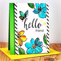 I'm over at the @butterflyreflectionsink blog today sharing this bright and colorful card. I used @altenewllc Wild Hibiscus and Halftone Hello stamp sets. #butterflyreflectionsink #cardmaking #altenew #zigcleancolormarkers