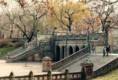 The Bethesda Terrace, flanked by two flights of stairs. Description from…