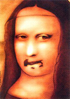 """reprodução A famosa Mona Lisa, de Leonardo da Vinci, pelos olhos do artista plástico Rumem Dragostinov. A exposição """"Itália unida pela sátira"""", inaugurada dia 10, no Centro Cultural Antônia Marçon Bonício, em São Bernardo do Campo, fica em cartaz até 30 de junho, com entrada Catraca Livre. A mostra reúne cartoons, caricaturas e outras imagens...<br /><a class=""""more-link""""…"""